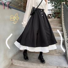 2021 długie spódnice dla kobiet spódnice Harajuku koreański styl biały czarny patchworkowy długa spódnica dla kobiet wysokiej talii plisowana spódnica tanie tanio YKANGS COTTON NYLON CN (pochodzenie) Osób w wieku 18-35 lat Ruffles WOMEN YS059 empire Plaid Na co dzień Połowy łydki
