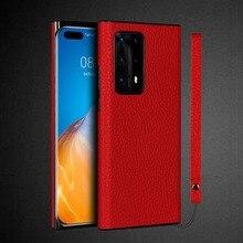 جراب هاتف خلوي من الجلد الطبيعي ، حافظة مربعة واقية لهاتف Huawei P40 Pro Plus ، P40 Pro