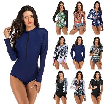 цена One Piece Swimsuit Rashguard Printed Long Sleeve Swimsuit Rash Guard 2020 New Women Swimwear Surfing Swimming Suit Bathing Suit онлайн в 2017 году