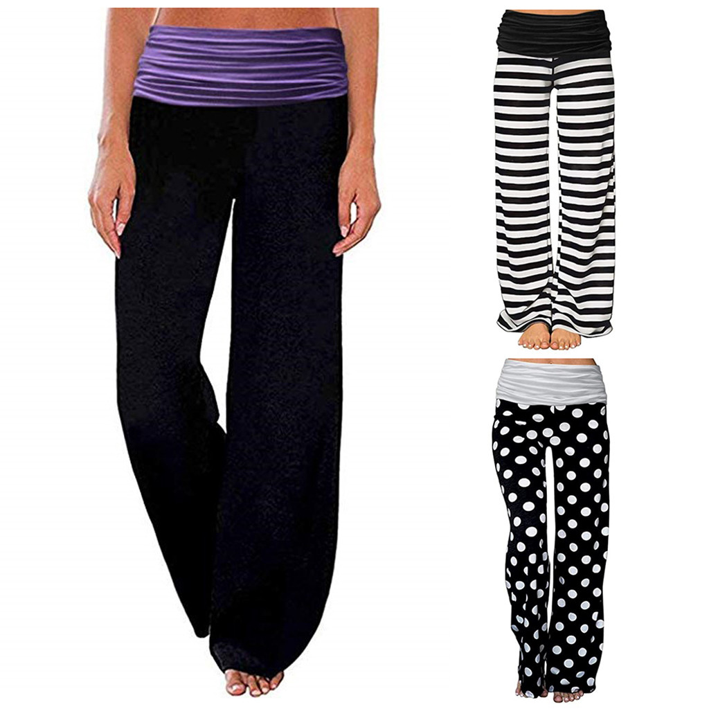 NEW Fashion Pants Plus Size Womens Ladies Casual Sexy High Waist Loose Широкие штаны Comfy Stretch Printing Long Wide Leg Pants