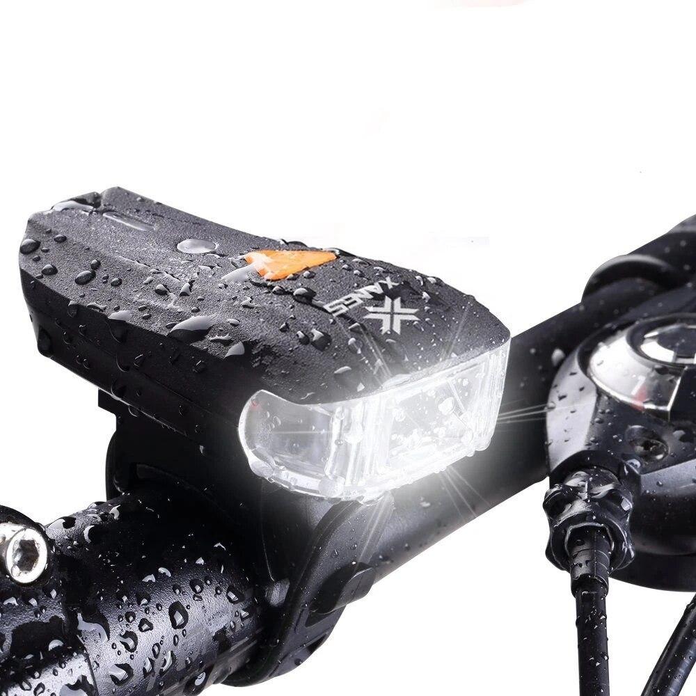 XANES 400LM Headlight 2LEDs 5modes USB Flashlight Bike Lantern Bicycle Smart Sensor Warning Spotlamp Electric Car Front Torch