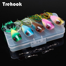 Popper-Set Crankbaits Silicone Trehook 5pcs Lures Wobblers Fishing-Lure-Kit Rattling
