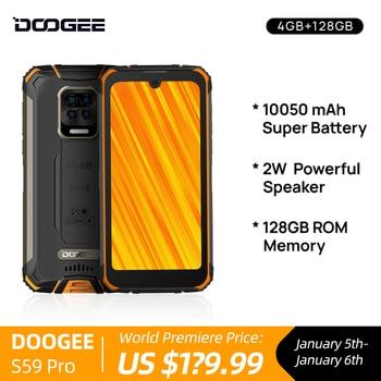 DOOGEE-teléfono inteligente S59 Pro, preventa, 10050mAh, Super batería, IP68/IP69K, 4 + 128GB, NFC, resistente, altavoz de volumen alto de 2W