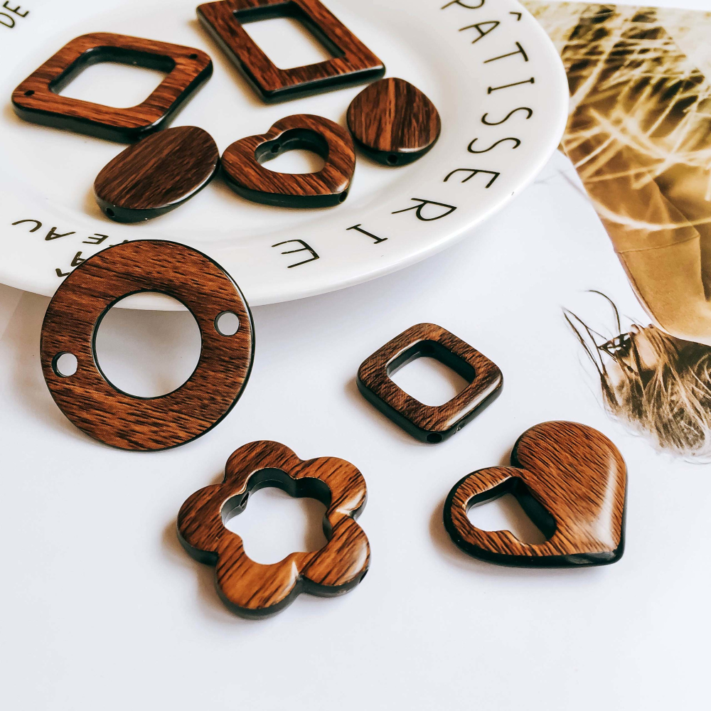 ZEROUP Wooden Smooth Round Square Eardrop Beads Bronze Pendant Earrings Accessories Necklace Charms Jewelry Diy Material 6pcs