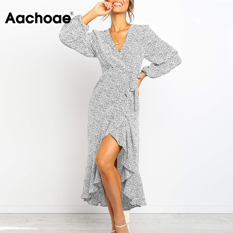 Aachoae 2020 Long Maxi Dot Print Dress Women Three Quarter Sleeve Ruffle Warp Dresses Ladies V Neck Split Boho Beach Dress