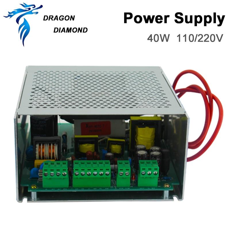 منبع تغذیه با لیزر Dragon Diamond Co2 40W AC220V / 110V برای دستگاه برش حکاکی با لیزر Co2 MYJG 40W منبع تغذیه لیزر