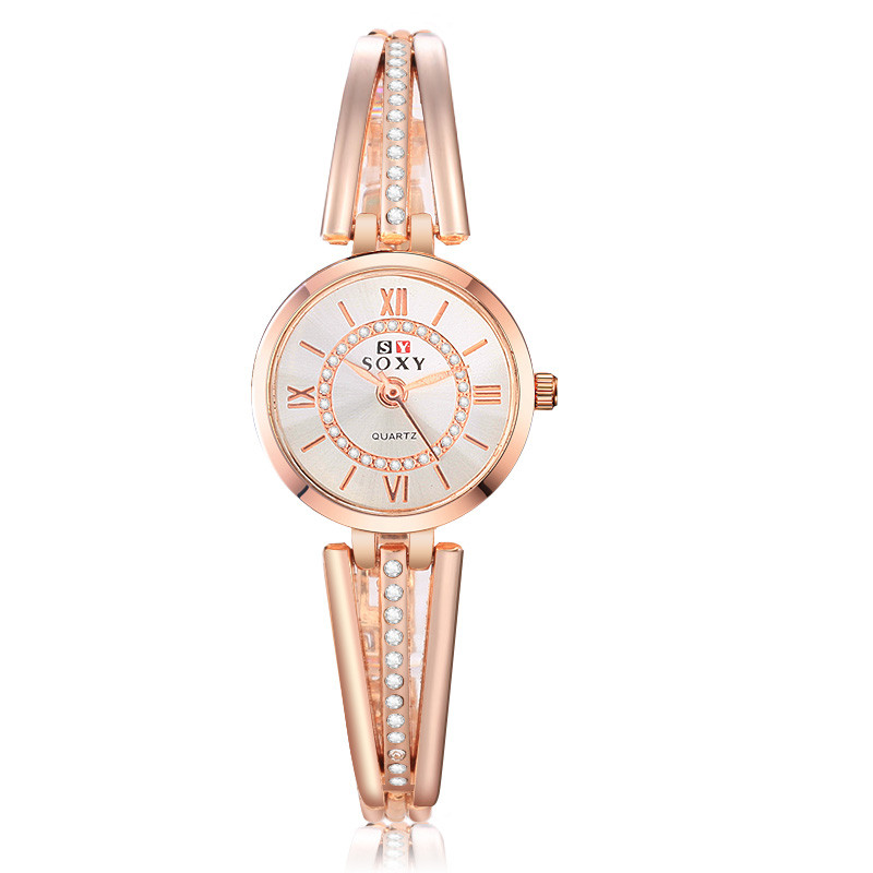 Feminino Relogio Women Dress Watch Quartz Rose Gold Watches Crystal  Brand Female Stainless Steel Analog Mujer Wristwatches D7