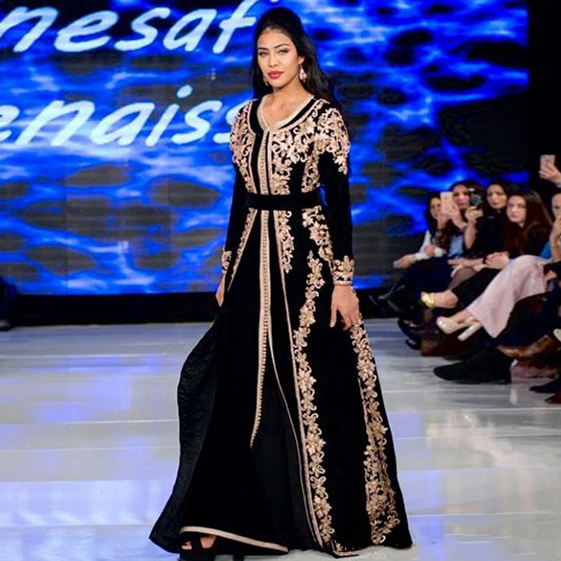 Eightree Black Moroccan Kaftan Evening Dresses Long Golden Appliques Saudi Arabic Evening Gown Muslim Special Occasion Custom
