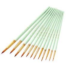 Paint-Brushes Professional Nylon Wood 12pcs One-Set Light-Green Delicate Portable