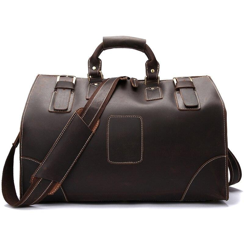 New High Quality Vintage Cow Leather Men's Bag Large-capacity Travel Bag Genuine Leather Shoulder Bag Portable Men's Travel Bag