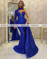 Royal Blue Mermaid Long Evening Dresses 2020 Stunning High Neck One Long Sleeve Sparkly Sequin Women Night Formal Gowns