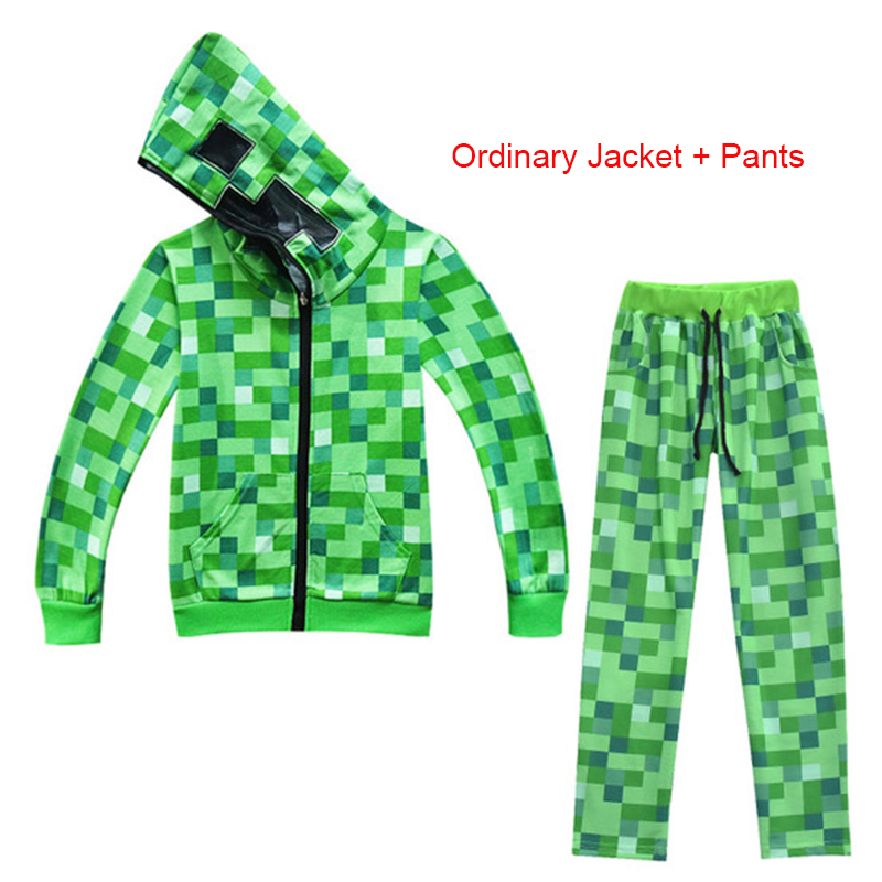 Kids Boys Girls Sweatshirts Minecrafters Cosplay Costume Long Sleeve Christmas Shirt Game Creeper Coat & Jacket 4-14T C29899CH