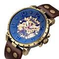 Винтажные механические наручные часы с скелетом  мужские арабские автоматические спортивные часы  классические мужские часы с кожаным рем...
