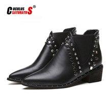Cuculus couro do plutônio botas de tornozelo para mulher 2020 outono novo rebite apontou toe sapatos de borracha preto cunhas botas femininas 35 39 1423