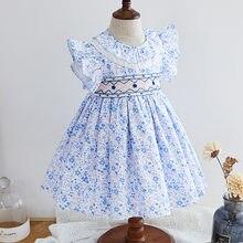 Bebê menina smocked floral vestido infantil bata vestidos crianças espanhol boutique roupas bebê menina espanha artesanal smocking vestidos