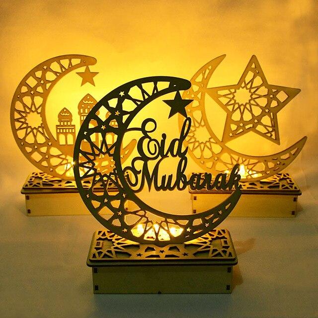 EID Mubarak Wooden Pendant with LED Candles Light Ramadan Decorations For Home Islamic Muslim Party Eid Decor Kareem Ramadan 6
