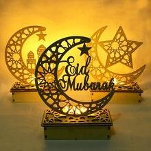 LED Eid Mubarak ciondolo ornamento artigianale in legno fai-da-te Islam festa musulmana decorazione domestica Al Adha Ramadan Kareem forniture per feste