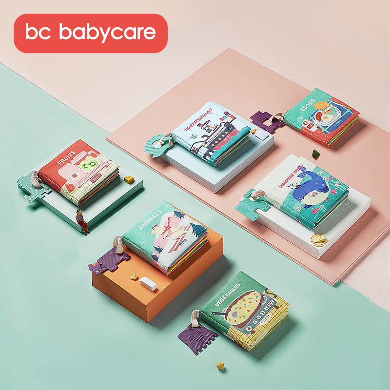 BC Babycare 6 Packs Baby Soft Sound 3D Cloth Books With Teether Infant Interactive Sensory Development Educational Learning Toys