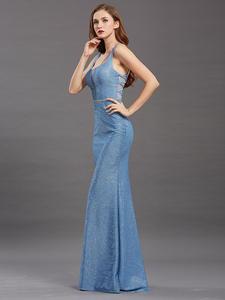 Mermaid-Gowns Evening-Dresses Formal-Dress Sequined Back-Long Elegant Women Sleeveless