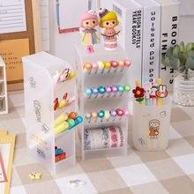 MINKYS Kawaii 4 ızgara masa üstü organiser kalemlik ücretsiz Sticker masası makyaj kalem saklama Stand kutusu okul ofis kırtasiye