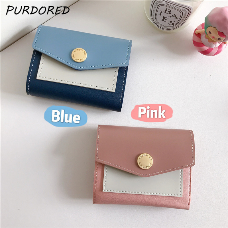 3.28US $ 30% OFF PURDORED 1 Pc Vintage Women Mini Card Holder  PU Leather Short Small Wallet Coin Pu...