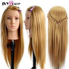 Manequim-cabeças com 65cm cabelo para penteados tete de cabeza manniquin manequim bonecas cabeça para cabeleireiro prática estilo de cabelo
