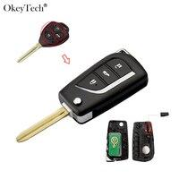 OkeyTech Remote Control Modified Key 3 Buttons 315Mhz 4D68 Chip TOY43 Blade for Toyota Camry Corolla Prado RAV4 Vios Hilux Yaris|Car Key| |  -