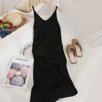 OCEANLOVE V Neck Solid Knitted Dresses Casual All Match Simple Fashion Korean Women Dress Elegant Vestidos New Clothes 15517 4