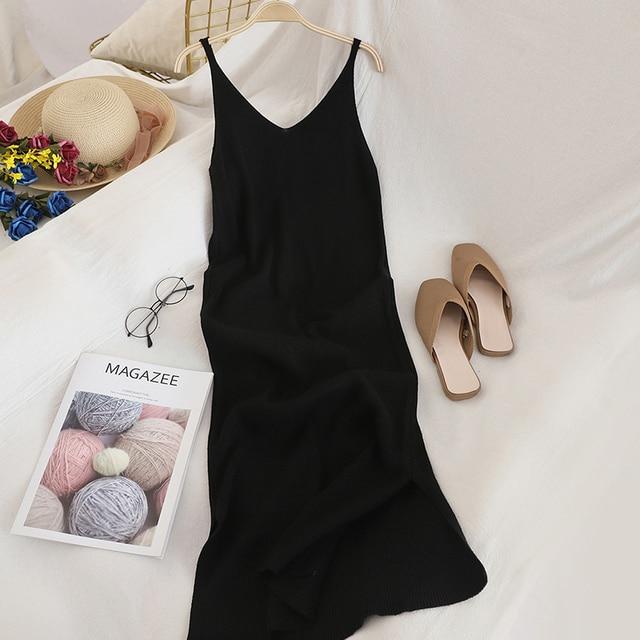 V Neck Solid Knitted Dress 4