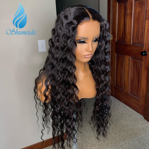 Image 5 - SHUMEIDA Indian Deep Wave Lace Front Wigs Pre Plucked Virgin Human Hair Wigs Baby Hair #2 Color Lace Frontal Wigs Bleached Knots