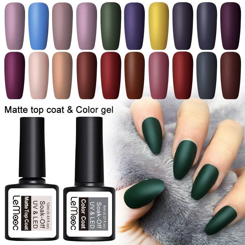 LEMOOC 8ml Nail Polish Nail Art UV Gel Matte Top Coat Semi Permanent Soak Off Gel Varnish Nail Art Gel Paint Lacquer Manicure