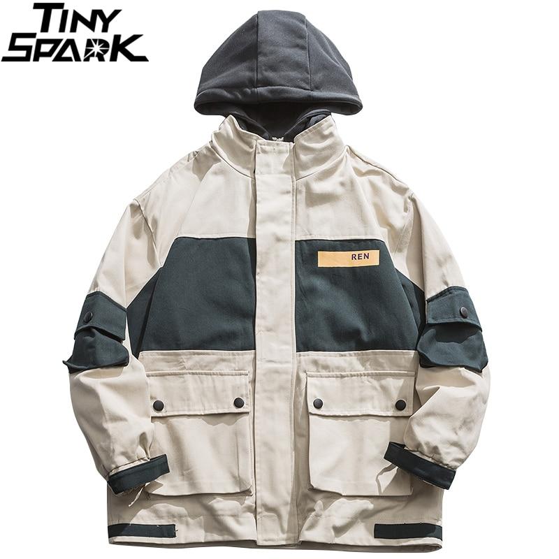 Hip Hop Streetwear Hooded Jacket 2020 Spring Mens Harajuku Jacket Windbreaker Color Block Patchowork Track Jacket Coat Zipper