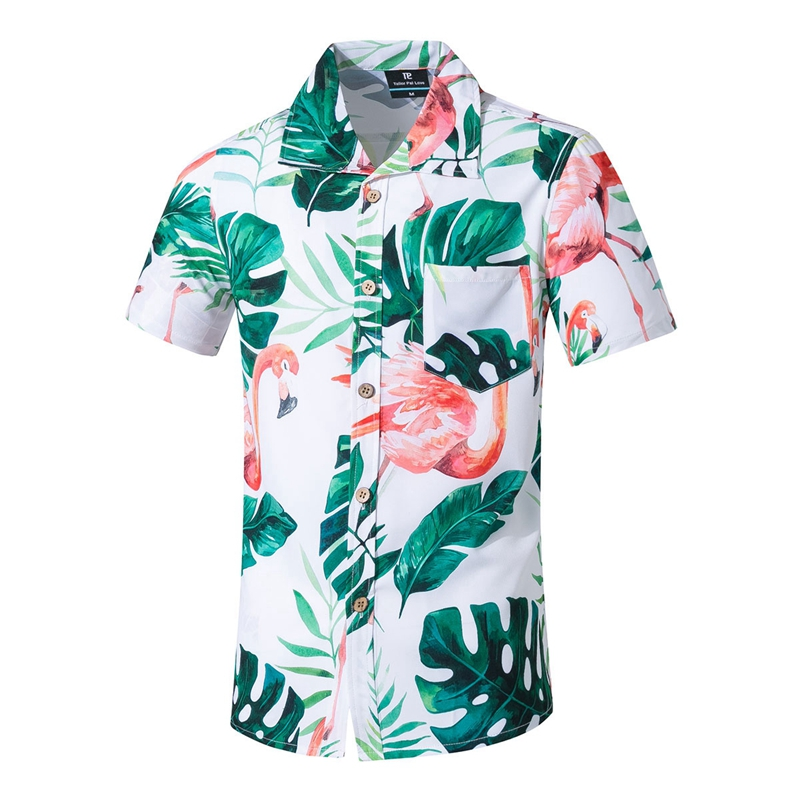 Fashion Men Short Sleeve Hawaiian Shirt Fast Drying Plus Size Asian Size S-5XL Summer Casual Floral Beach Shirts For Men