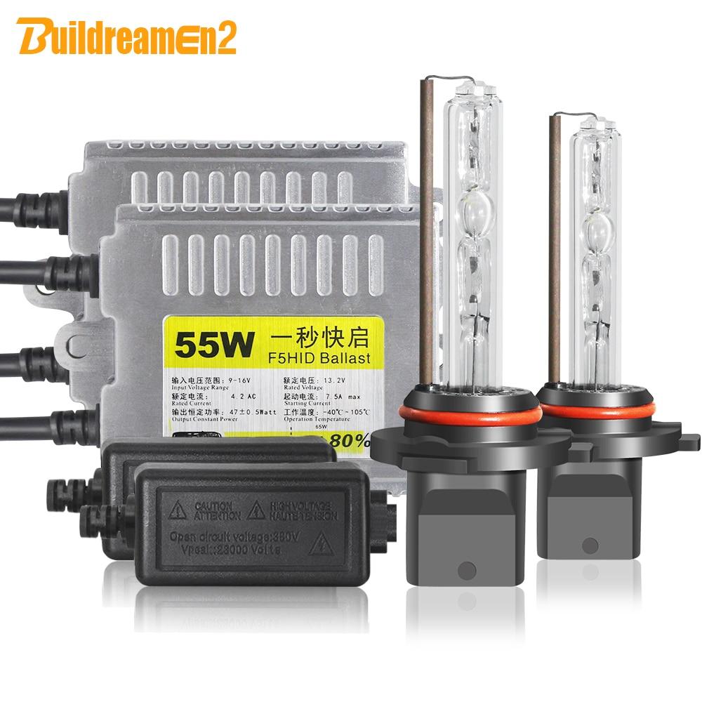 Buildreamen2 H1 H7 Car Headlight HID Xenon Light Kit AC Ballast Bulb 55W H3 H8 H11 9005 9006 3000K-10000K 12V Headlamp Fog Light