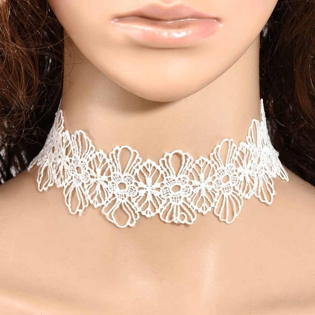 Korean Version Of Handmade Black Openwork Flower Necklace Set Sweet Lace Necklace Bracelet Female