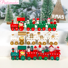 PATIMATE  Christmas Wooden Train Merry Decorations For Home 2019 Ornaments Xmas Navidad Gift New Year 2020