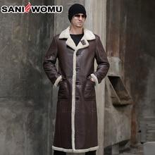 Шуба из натуральной овчины для мужчин, новинка, Смарт Повседневный стиль, мужское пальто, стрижка овец, длинное тонкое пальто из натурального меха