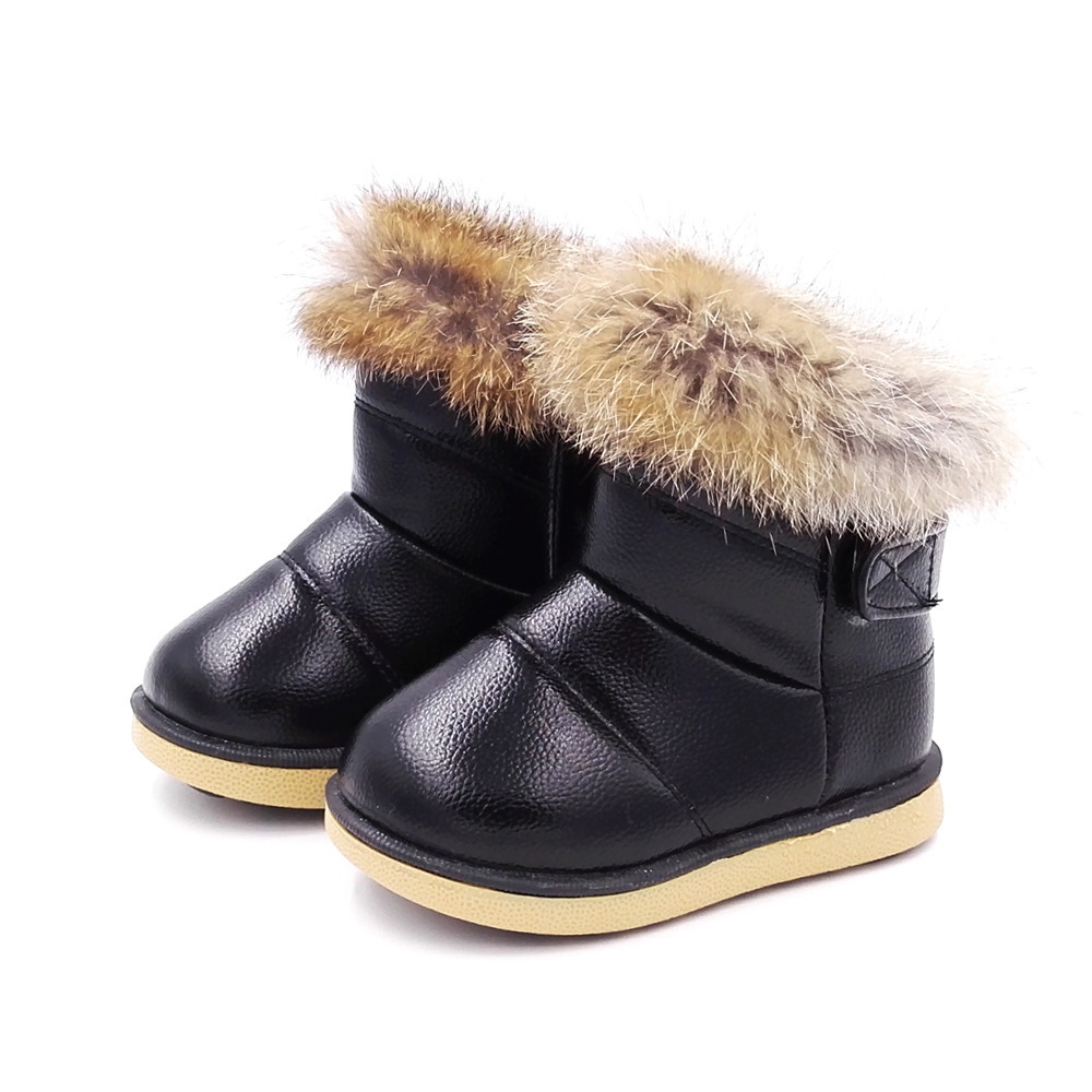 Girl's Fashion Rabbit Fur With Plush Warm Winter Ankle Boots Soft Bottom Round Toe Mid-Calf Girl Winter Boots Snow Boots