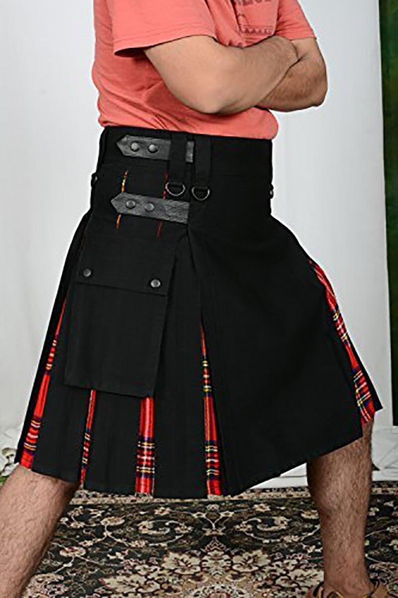 Royal Scottish Hybrid Plaid Utility Kilts Tartan Adult Celtic 19th Highland Tactical Costume Strap Cotton Outwear For Men Black