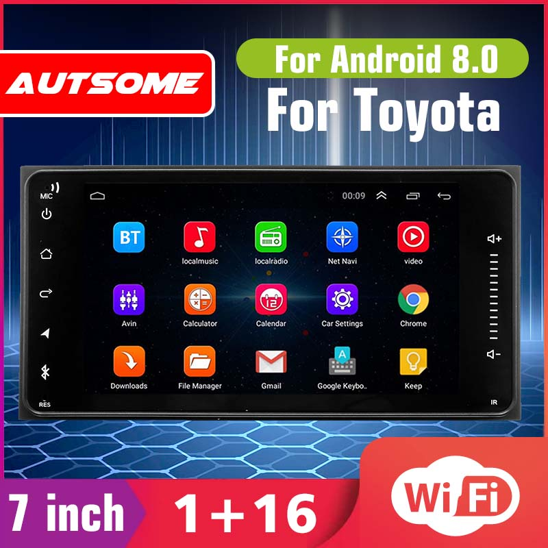 7'' Car Stereo Radio Video Player for Toyota Android 8.0 2DIN Quad Core GPS Nav blutooth WIFI Car Multimedia MP5 Player image