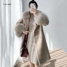 Длинное шерстяное пальто cacare куртки женские теплые модные
