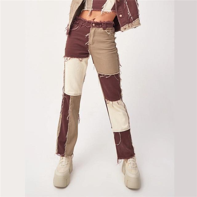 Autumn Patchwork High Waist Straight Denim Pants Women Casual Skinny Ripped Jeans Capris Pocket Long Trousers Ladies Streetwear