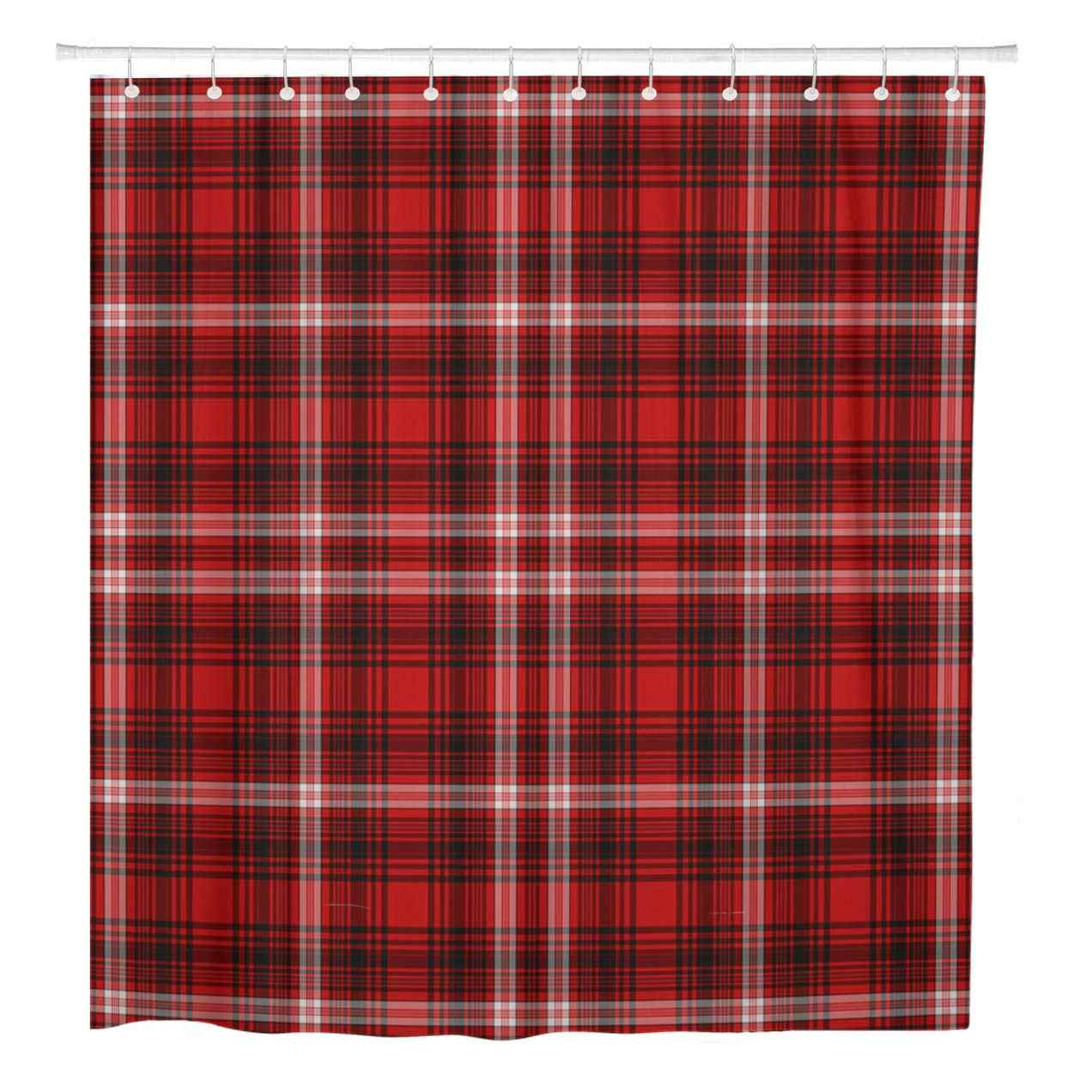 Red Tartan Plaid Shower Curtain Country Cottage 72 x 72 Cloth Christmas Lodge