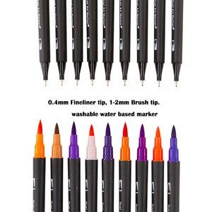 Image 4 - Aquarelle pinceau stylo marqueurs ensemble pour dessin calligraphie Graffiti croquis marqueur stylo lettrage stylo 48 60 72 100 couleurs