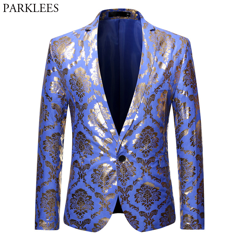 Royal Blue Tuxedo Blazer Jacket Men 2019 Stylish Gold Print Mens Dress Blazers One Button Slim Fit Party Dinner Blazer Masculino