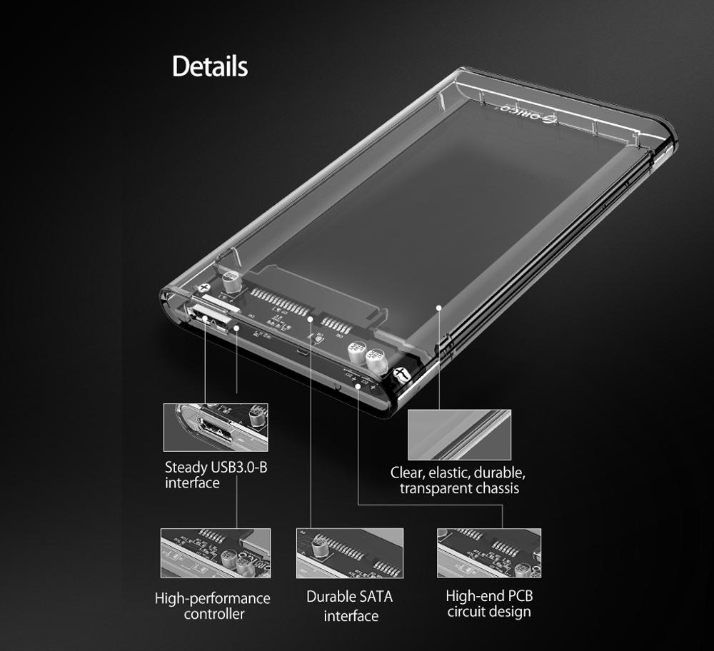 Купить с кэшбэком ORICO HDD Case 2.5 Transparent SATA to USB 3.0 Adapter External Hard Drive Enclosure for 7mm/9.5mm SSD Disk HDD UASP SATA III