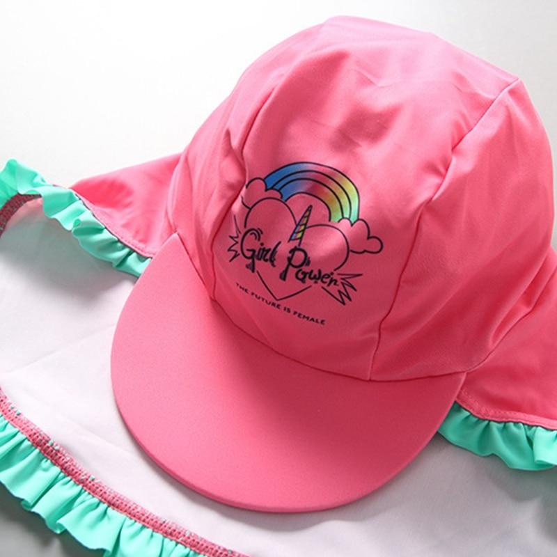 Одежда для купания девочек Цельный купальник с принтом радуги