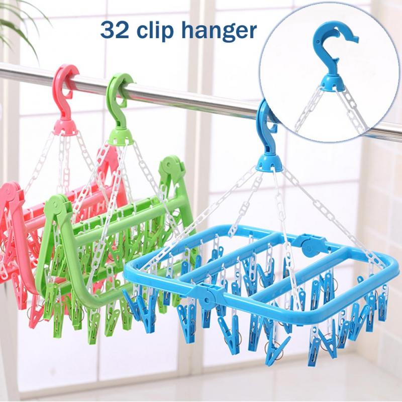 12/17/32 Clips Folding Clothes Hanger Towels Socks Underwear Drying Rack With Detachable Clips Dryer Home Bathrooms Clothespin