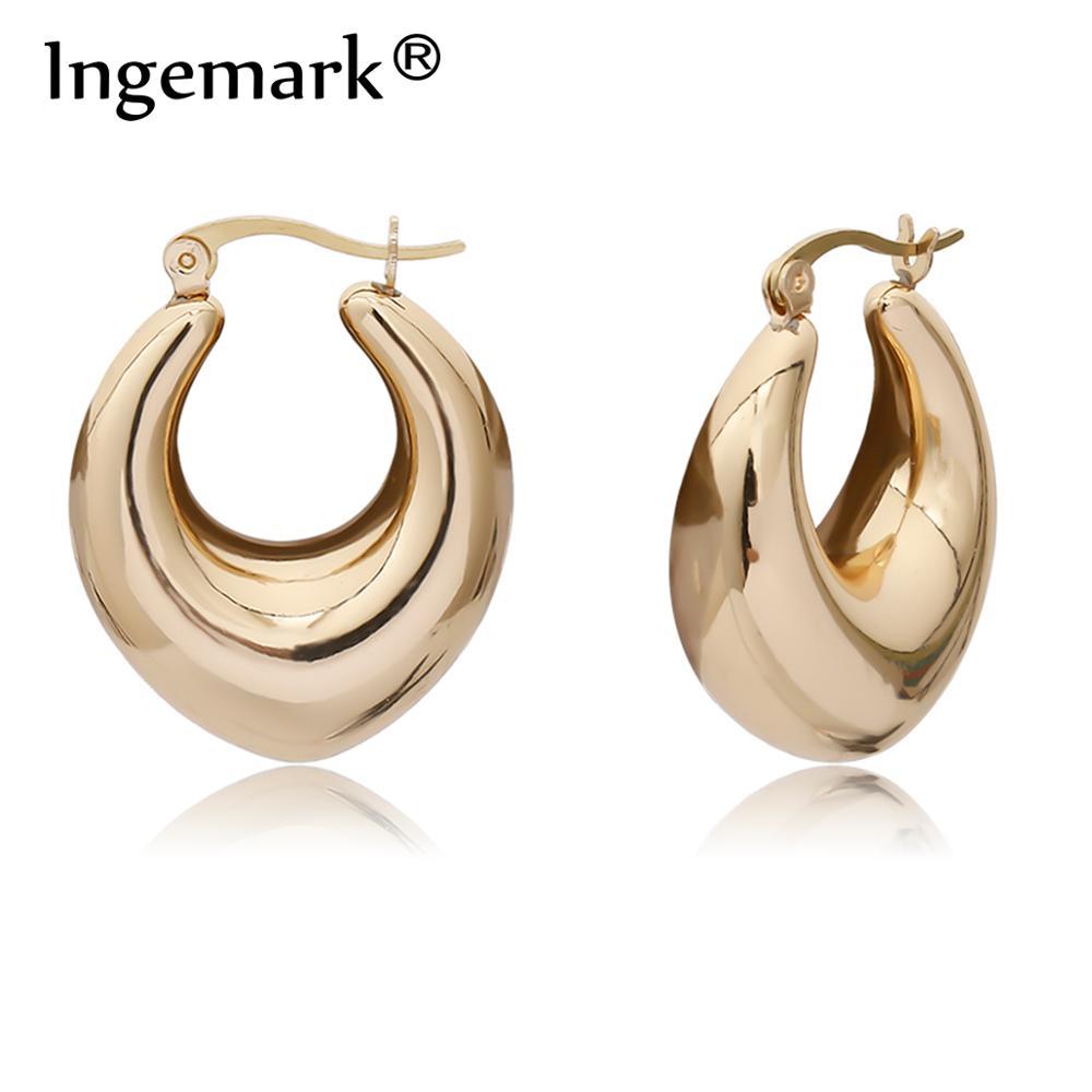 Ingemark Best Selling French Gold Color O Shaped Stud Earrings for Women Punk Chunky Tube Hoops Geometric Alloy Earrings Jewelry
