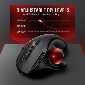 Image 4 - Gelée peigne Bluetooth Trackball souris Rechargeable 2.4G USB sans fil et Bluetooth souris ergonomiques pour ordinateur portable tablette PC Mac Android